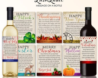 Holiday Marriage Milestones Wine Labels Wedding Gift Bridal Shower Gift Christmas New Years Valentines Thanksgiving Halloween 4th July #MMHE
