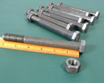 """Vintage Bolts, Industrial Bolts, Hex Bolts, Nuts and Bolts, Salvaged Hardware - Lot of 8 - 6"""" Hex Bolts with Nuts"""