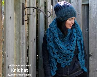 Teal triangle scarf, kerchief scarf, Bandana scarf, winter shawl, wool winter scarf, knit scarf