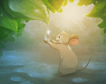 Mouse with Raindrops, Signed Giclée, Fine Art Print, Wall Art