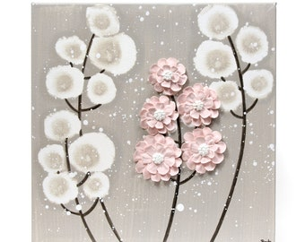 Small Canvas Painting, Original Art, French Gray and Pink Wall Art with Sculpted Flowers - 10x10