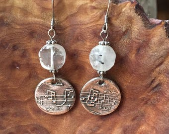 Music and Tourmalated Quartz earrings