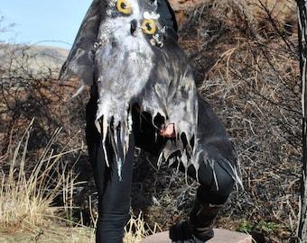 Owl wrap shawl / Wings / Silk scarf  / Nuno felting  / Handmade felted scarf / Merino wool / Wool Scarf