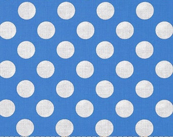 Michael Miller Ta Dot Boys - Blue and White Polka Dot Fabric -  100% Cotton