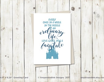 Wedding Marriage Anniversary, Love Gives You a Fairytale - Greeting Card with A6 envelope