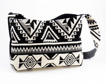 Handcrafted Wool AZTEC BLACK & WHITE Shoulder Bag Purse / (Ooak) / Bohemian-Ethnic from Upcycled Wool Sweater + Cotton Women's Jacket  #051
