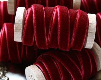 """Burgundy Velvet Ribbon, Wine Velvet Ribbon, Crimson Velvet Ribbon, 3/8"""" Velvet Ribbon, Velvet Ribbon Spool, 3 yards, Burgundy Wedding"""
