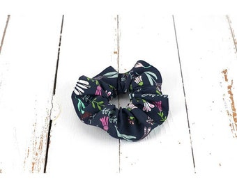 Scrunchies in Navy organic cotton and flowers