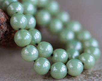 8mm Sage Green Czech Glass Druk Beads, Glass Round Beads, Picasso druk beads (25pcs) NEW 1.1.5