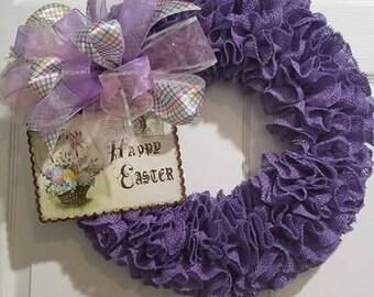 Purple Easter wreath.