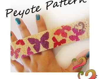 Fly Fly Butterfly Pattern Bracelet - For Personal Use Only PDF Tutorial , two drop peyote, jewelry tutorial, peyote stich bracelet pattern