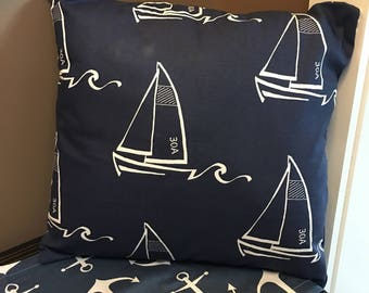 Premier Print Seaton Sailboat Sailor Nautical Navy Blue with White sailboats Envelope Pillow Cover