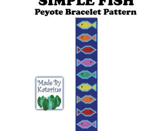 Peyote Pattern - Simple Fish - INSTANT DOWNLOAD PDF -  Peyote Stitch Bracelet Pattern - Peyote Fish Pattern - One Drop Even Peyote