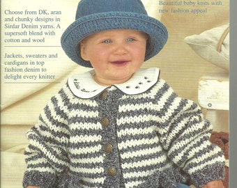 Babies in Denim Sirdar 266 Knitting Pattern Book Baby Toddler Child Sweater Patterns
