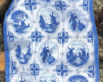 Dutch Tea Towel Blue and White Windmills Children Made in Holland Kitchen