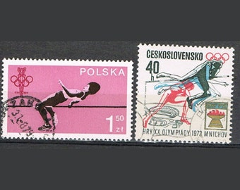 34  Postage Stamps - Athletics - Sports