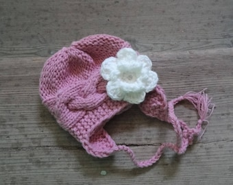 Earflap Baby Hat , girl Hat , Newborn Hat girl hat with crochet flower, Girl Outfit , Photo Prop hat , girls Hat with earflaps SIZES