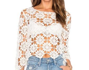 Crochet top PATTERN, trendy top PATTERN, detailed instructions in American terms, lace crochet summer top pattern, crochet motifs top