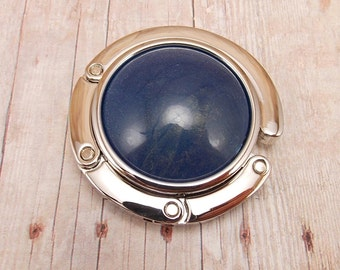 Folding Purse Hanger - Dark Blue Swirl with Hints of Iridescence - Denim Blue - Navy Blue