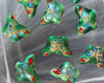 set of 2 Butterfly cloisonne metal beads