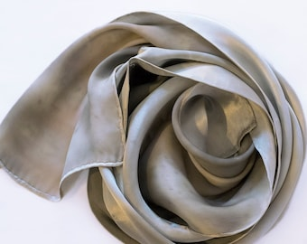 Solid Devore Satin Scarf Hand-dyed with Plants, Hibiscus and Purple Potatoes