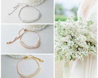 Bridal Gold Bracelet, Gold Crystal Bracelet, Adjustable Bridesmaid Bracelet, Wedding Jewelry, Simple Wedding Bracelet For Bride, Katie