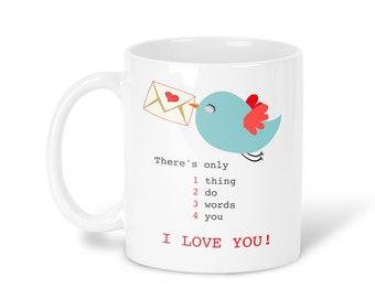 I Love You Mug Coffee Mug Letter Tea Mug I Love You Travel Mug Letter Gift Mug Love Mug Red Blue Mug bird