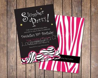 Zebra Sleep Over Party Invitation-Custom