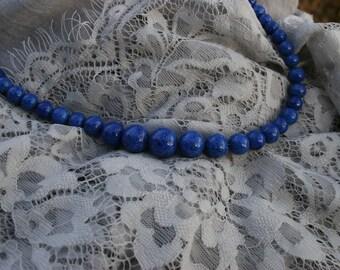 Lapis Lazuli Necklace Graduated Bead Vintage Lapis Lazuli