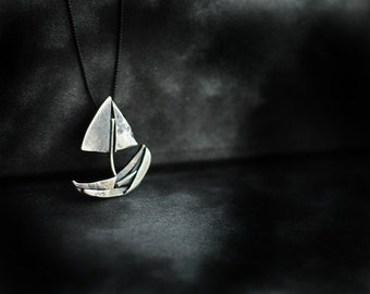 Ready to Ship, Sailboat Necklace, Moving Away Gift, Boat Nautical Pendant, Mens Unisex Jewelry