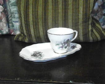 Liverpool Road Pottery, cup and saucer, violets / porcelain/China/British