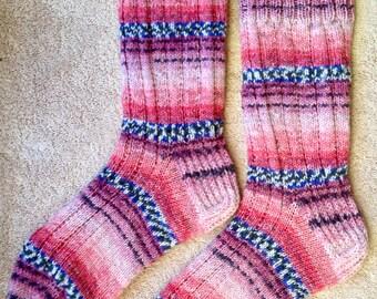 Hand Knit Mens or Womens Wool Socks - Opal Sock Yarn (S-223)
