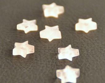 """X 2 rose quartz beads, Star,"" half hole """