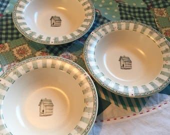 Vintage 3 Piece Set of Cereal or Soup Rimmed Bowls Bird House Portfolio Naturewood Pfaltzgraff Made in The USA