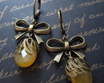 cecilia - yellow jade vintage style bow earrings