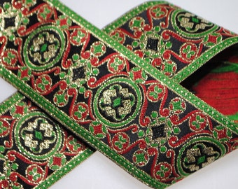 Filigree Medallion Woven Jacquard Trim 1.5 inches wide - One, Two, Five, or Ten Yards