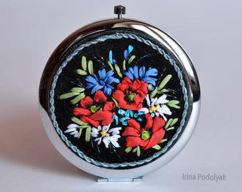 Mirror with Silk Ribbon Hand Embroidery