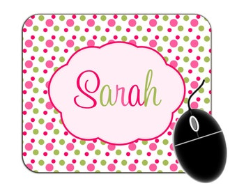 Personalized Name Polka Dots Multi-colored Mouse Pad - 91538948