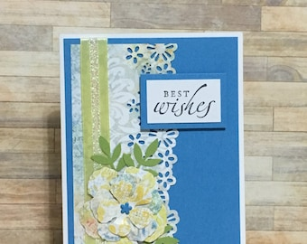 Handmade greeting card, all occasion card, best wishes card, blue, yellow