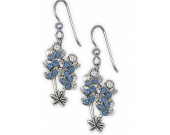 Bluebonnet Earrings Jewelry Sterling Silver Handmade Texas Wildflower Earrings BBD-FW