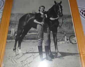 Vintage Girl and Horse Photo/ Ramblin Joe?Signed