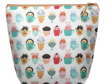 Knitting Project Bag-Knitting Bag-Large Knitting Bag-Large Project Bag-Tea Cups Zipper Bag-Vintage Inspired Bag-Animals Large Wedge Bag