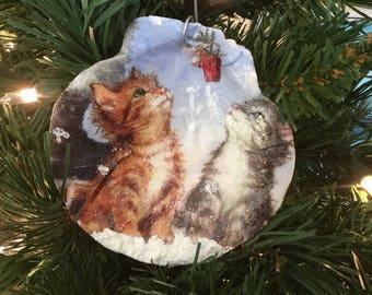 Kittens in the Snow Ornament, Kitten Ornament, Painted Shell Ornament, Cat Lovers Gift, Kitten Lovers Gift, Christmas Ornament