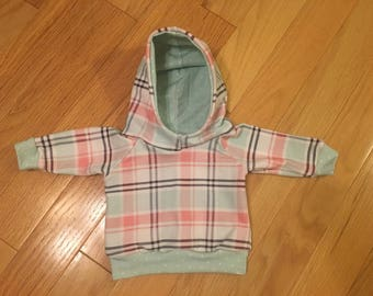 Mint Salmon Plaid with Mint Dot Baby Girl Hoodie 0-3 Month