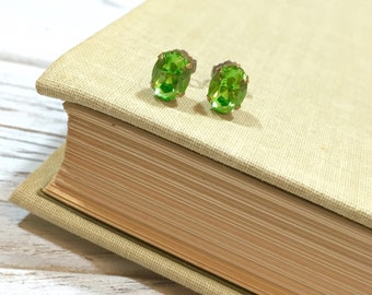 Vintage Rhinestone Earrings in Peridot Lime Green, Small Oval Rhinestone Estate Earrings