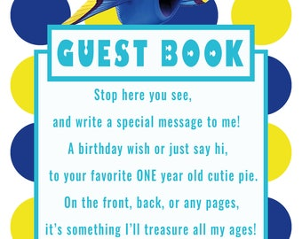 Finding Dory -Dory Guest Book Sign for 1 year old girl
