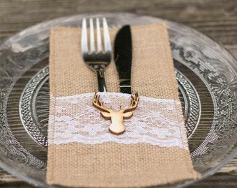 Cutlery Holder Wedding Burlap Rustic cutlery holders Buck Doe Sunflower Silverware Rustic Wedding Decor