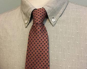 ON SALE Dusty Pink/Black Dot Pattern Men's Foulard Italian Silk Tie by Givenchy c1970s