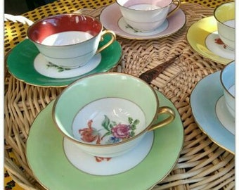 5  Grand Depot Porcelain Tea Cups and Saucers Gilded 1940's French China Demi Tasse and Saucers #sophieladydeparis
