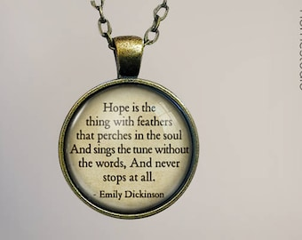 Emily Dickinson (Hope) Quote jewelry. Pendant, Necklace or Keychain Key Ring. Perfect Gift Present. Glass dome phrase words charm HomeStudio